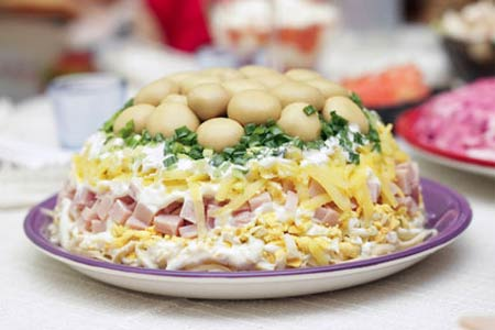 ветчина сыр шампиньоны салат