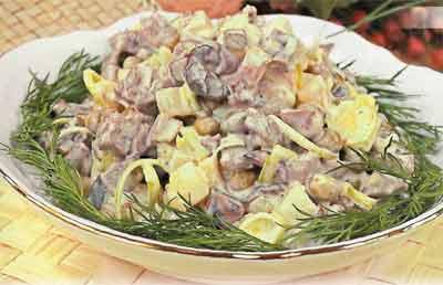Салат из грибов и мяса с фото