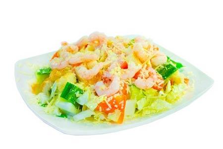 салат с креветками и огурцом порционный рецепт с фото