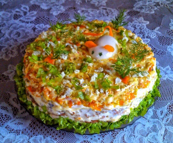 Печеночный торт рецепт с морковью фото